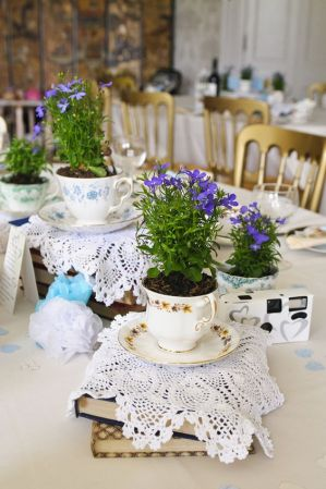 Decoração para chá de cozinha com itens de casa