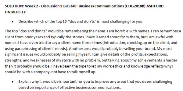Week 2 - Discussion 1 BUS340: Business Communications (CUG2018B) ASHFORD UNIVERSITY