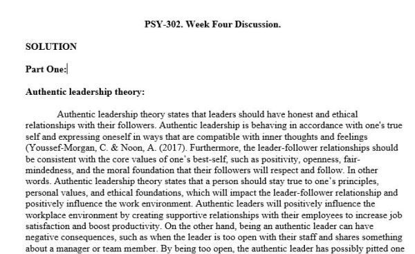 ((SOLVED)) PSY302: Industrial/Organizational Psychology (PSH2045A) Week 4 - Discussion Forum