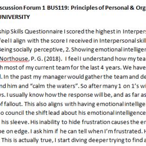 SOLUTION: Week 3 - Discussion Forum 1 BUS119: Principles of Personal & Organizational Leadership (AFS1951A) ASHFORD UNIVERSITY