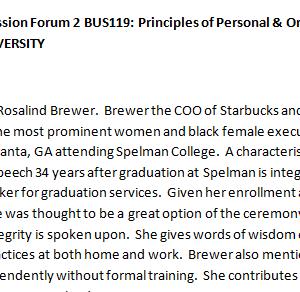 SOLUTION: Week 2 - Discussion Forum 2 BUS119: Principles of Personal & Organizational Leadership (AFS1951A) ASHFORD UNIVERSITY