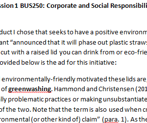 Week 3 - Discussion 1 BUS250: Corporate and Social Responsibility (CUC1931B) ASHFORD UNIVERSITY