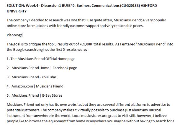 Week 4 - Discussion 1 BUS340: Business Communications (CUG2018B) ASHFORD UNIVERSITY
