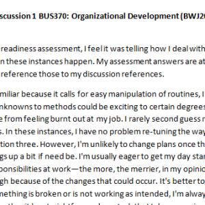 Week 1 - Discussion 1 BUS370: Organizational Development (BWJ2028A) ASHFORD UNIVERSITY