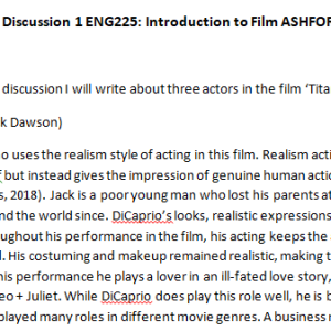 Week 4 - Discussion 1 ENG225: Introduction to Film ASHFORD UNIVERSITY