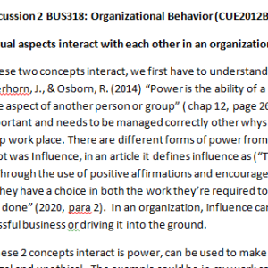 Week 3 - Discussion 2 BUS318: Organizational Behavior (CUE2012B) ASHFORD UNIVERSITY