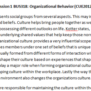 Week 5 - Discussion 2 BUS318: Organizational Behavior (CUE2012B) ASHFORD UNIVERSITY
