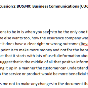 Week 1 - Discussion 2 BUS340: Business Communications (CUG2018B) ASHFORD UNIVERSITY