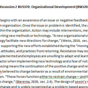 Week 1 - Discussion 2 BUS370: Organizational Development (BWJ2028A) ASHFORD UNIVERSITY