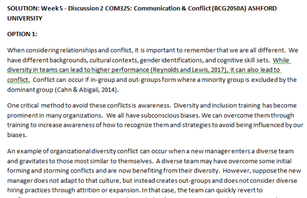 Week 5 - Discussion 2 COM325: Communication & Conflict (BCG2050A) ASHFORD UNIVERSITY