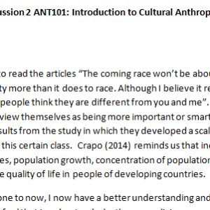 SOLUTION: Week 5 - Discussion 2 ANT101: Introduction to Cultural Anthropology (GSF1946A) ASHFORD UNIVERSITY