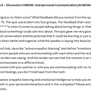 Week 4 – Discussion COM200: Interpersonal Communication (ACM1904C) ASHFORD UNIVERSITY