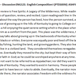 Week 1 – Discussion ENG121: English Composition I (PTD1839J) ASHFORD UNIVERSITY