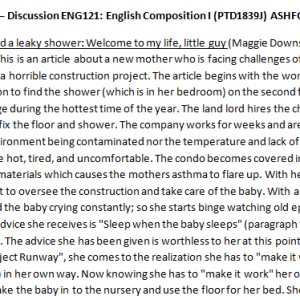 Week 2 – Discussion ENG121: English Composition I (PTD1839J) ASHFORD UNIVERSITY