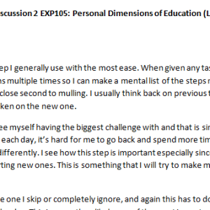 Week 3 - Discussion 2 EXP105: Personal Dimensions of Education (L301829J) ASHFORD UNIVERSITY