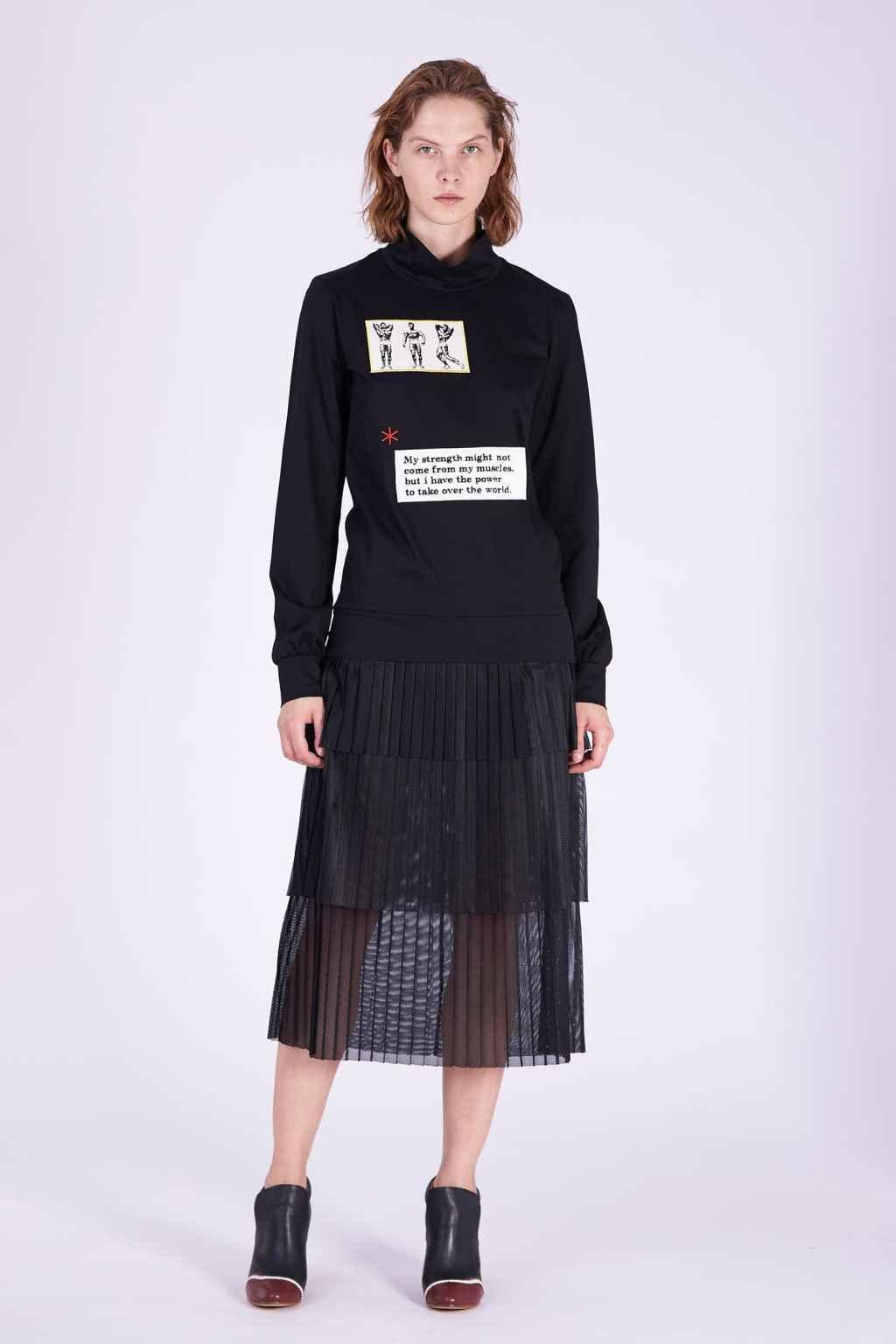 Acephala AW2018-19 Black Cotton Jersey Patch Dress // Czarna Bawełniana Sukienka z Naszywki