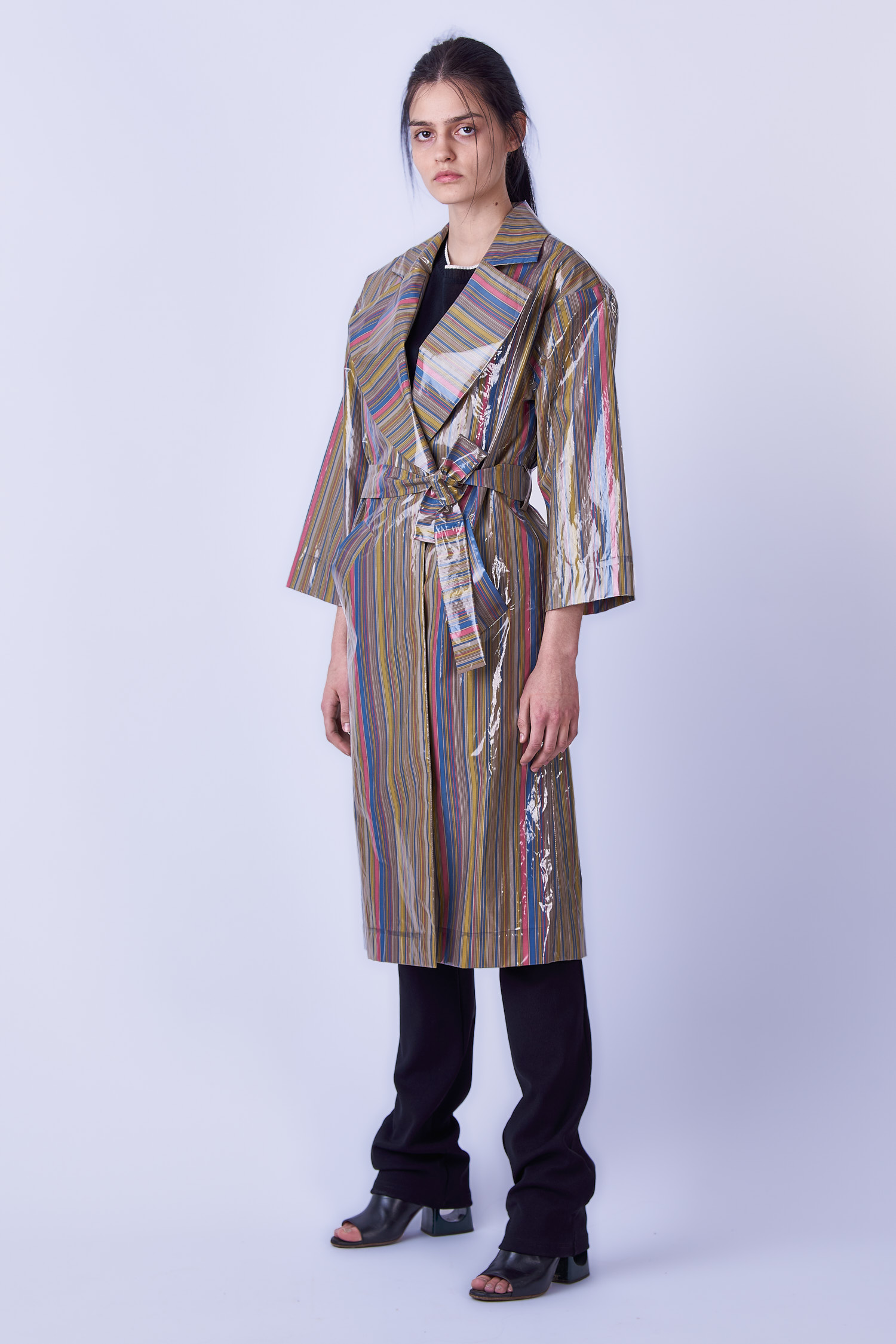 Acephala Ss19 Slavic Goddesses Striped Trench Front Side 2