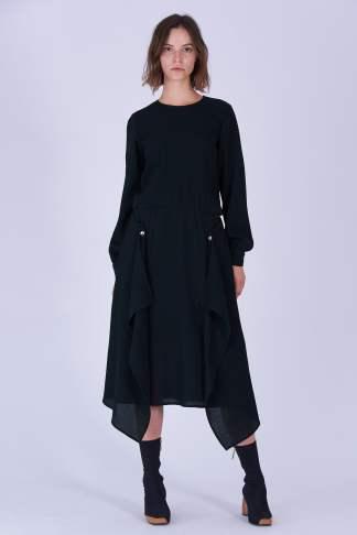 Acephala Fw19 20 Black Midi Draped Woolen Dress Czarna Sukienka Welniana Drapowana Front 3
