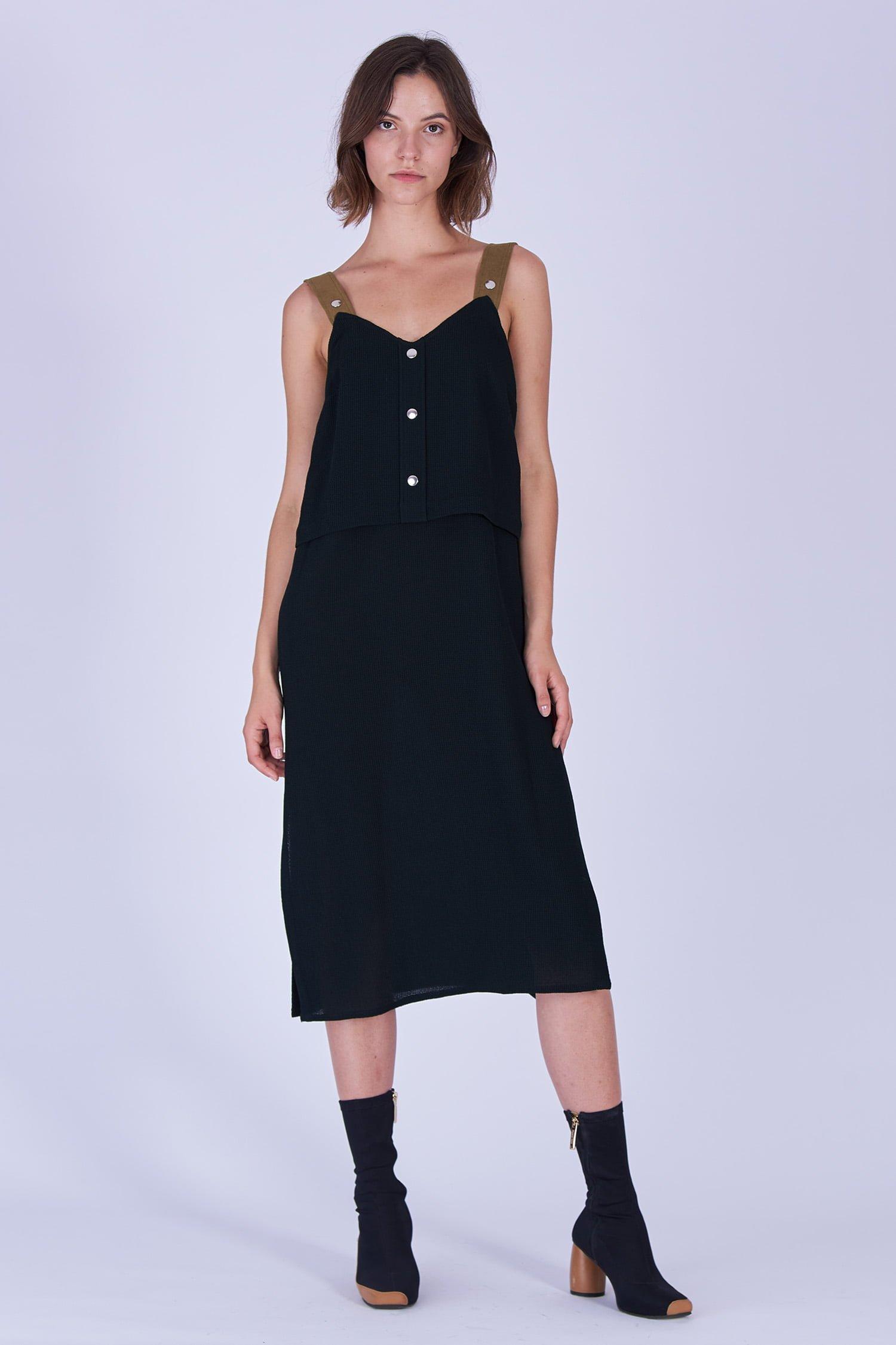 Acephala Fw19 20 Black Strap Midi Dress Czarna Sukienka Szelki Front 2