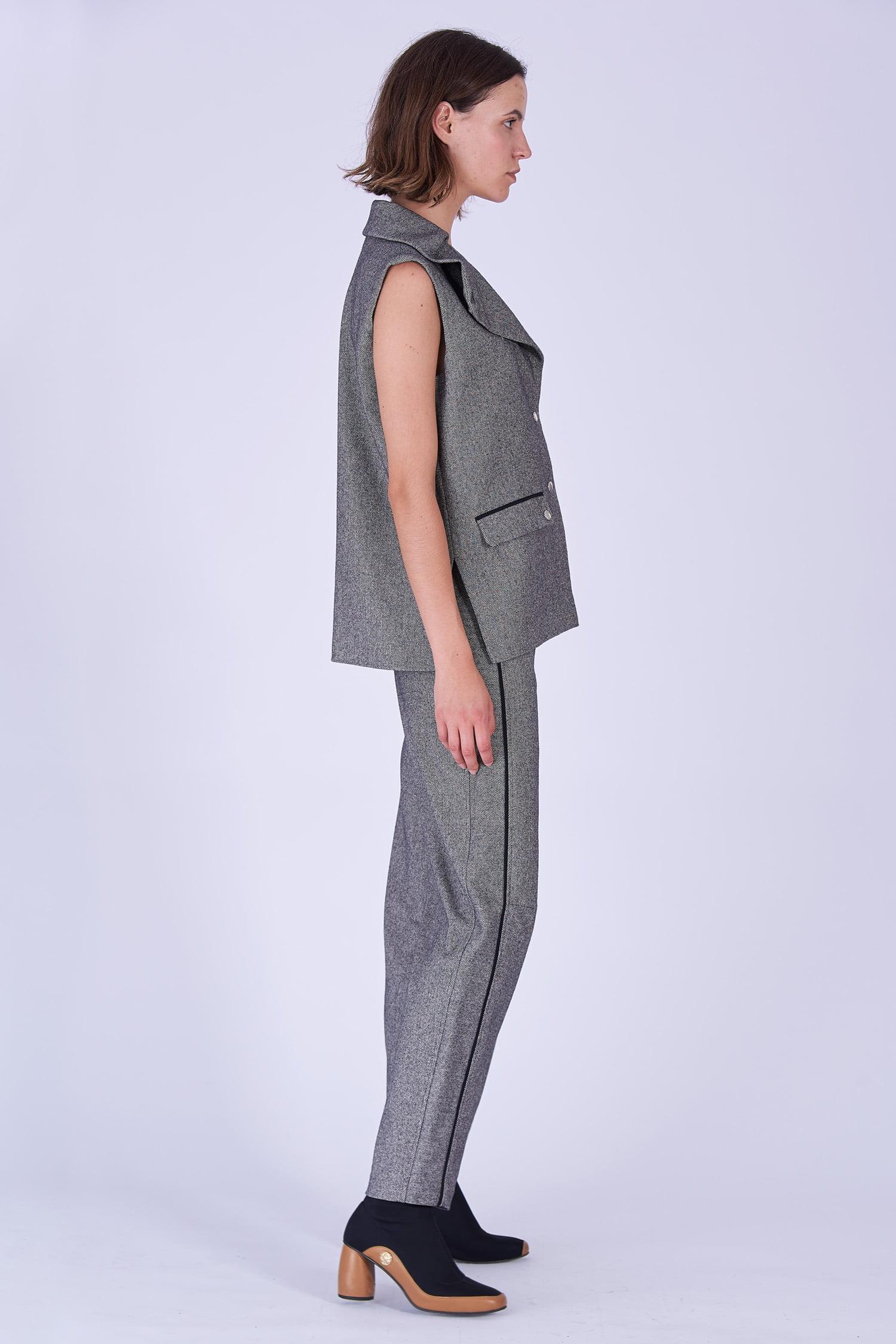Acephala Fw19 20 Grey Herringbone Wool Sleeveless Jacket Trousers Marynarka Szara Jodelka Welna Spodnie Side 1