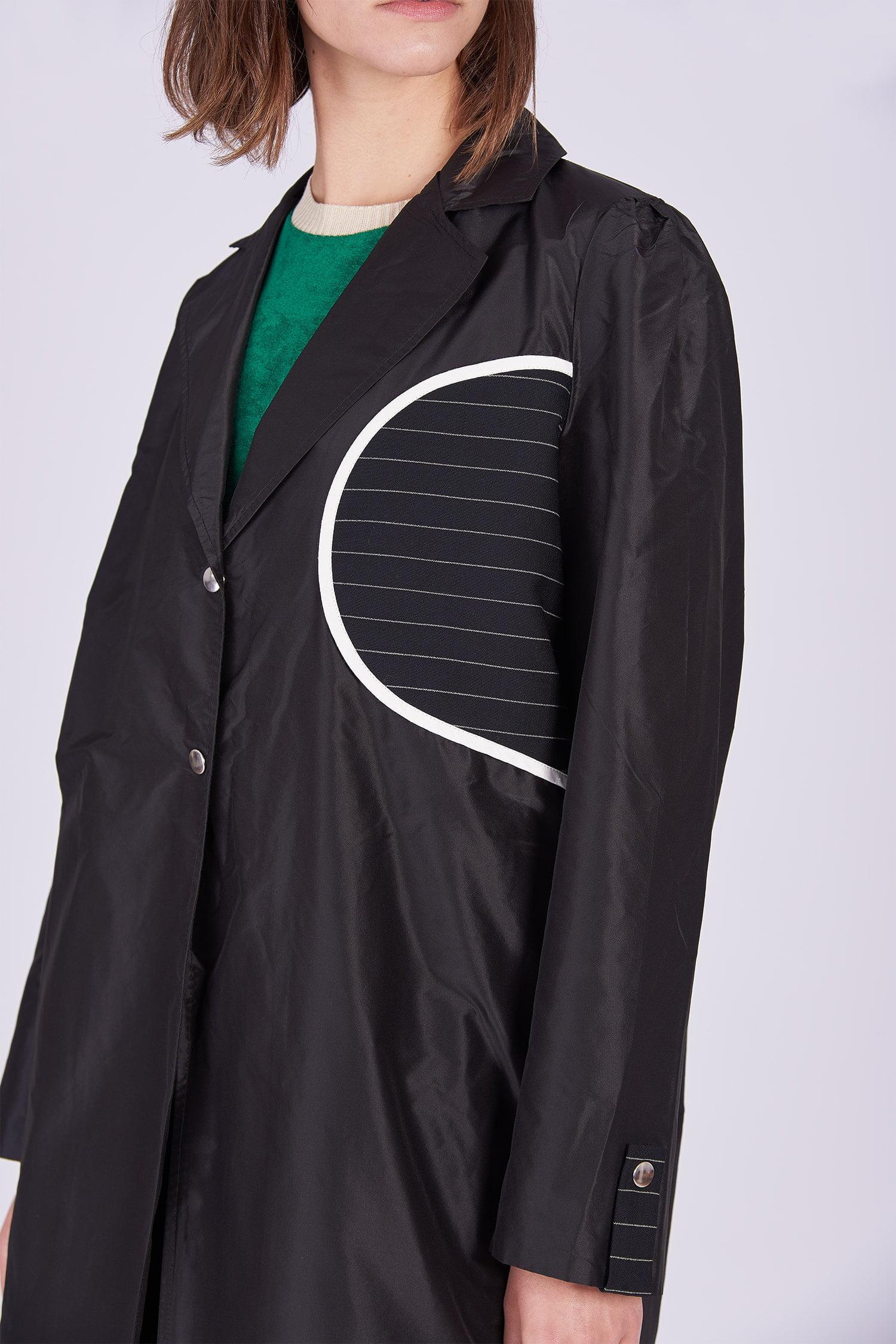 Acephala Ps2020 Black Light Coat Czarny Lekki Plaszcz Detail