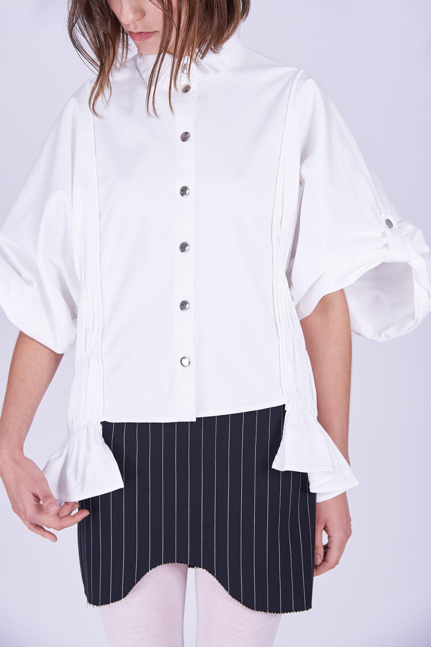 Acephala Ps2020 Black Striped Skirt White Exuberant Gathered Czarna Spodnica Biala Koszula Marszczona Detail 2