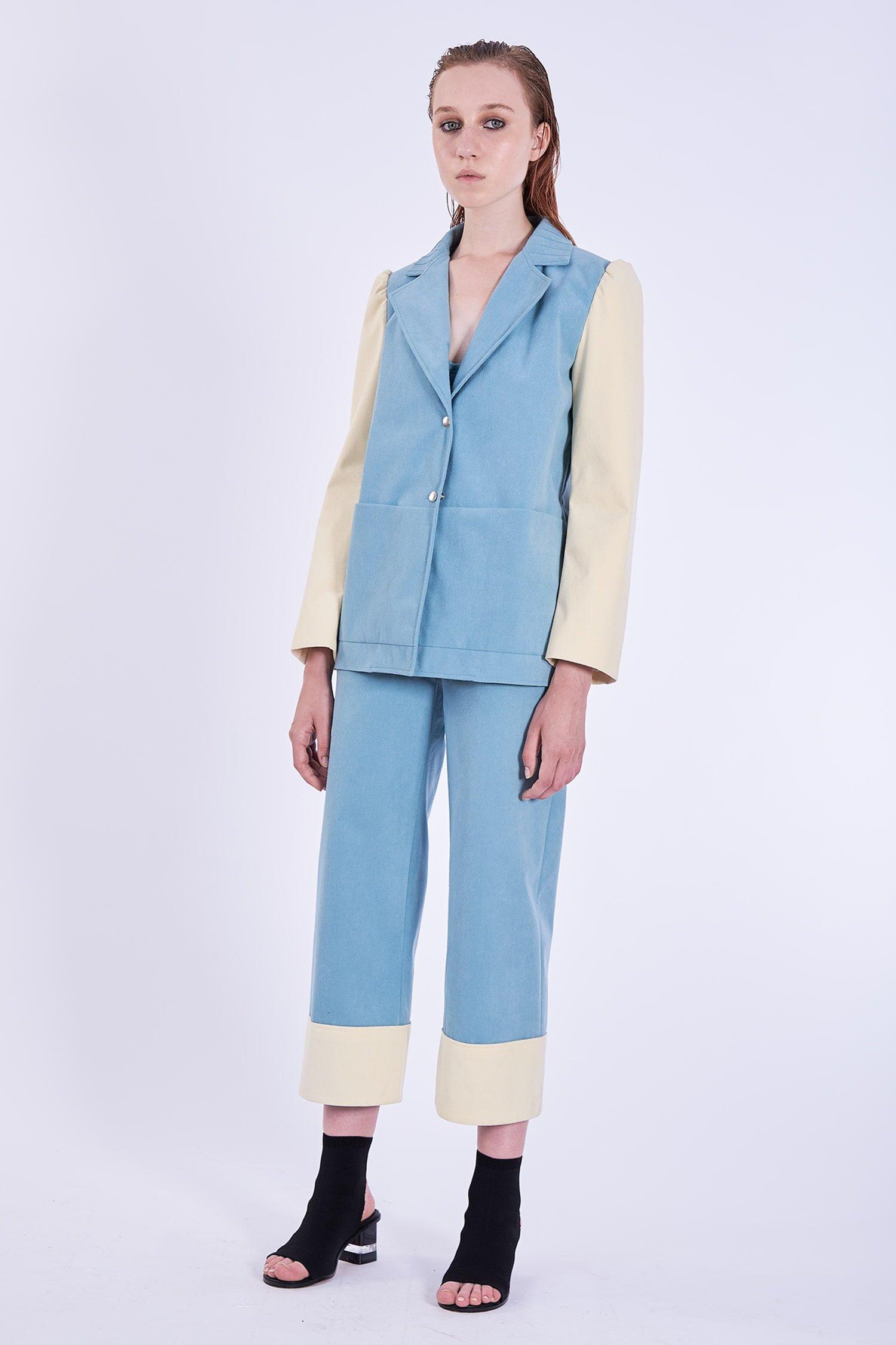 Acephala Ps2020 Blue Suit Suade Alcantara Blekitny Garnitur Side