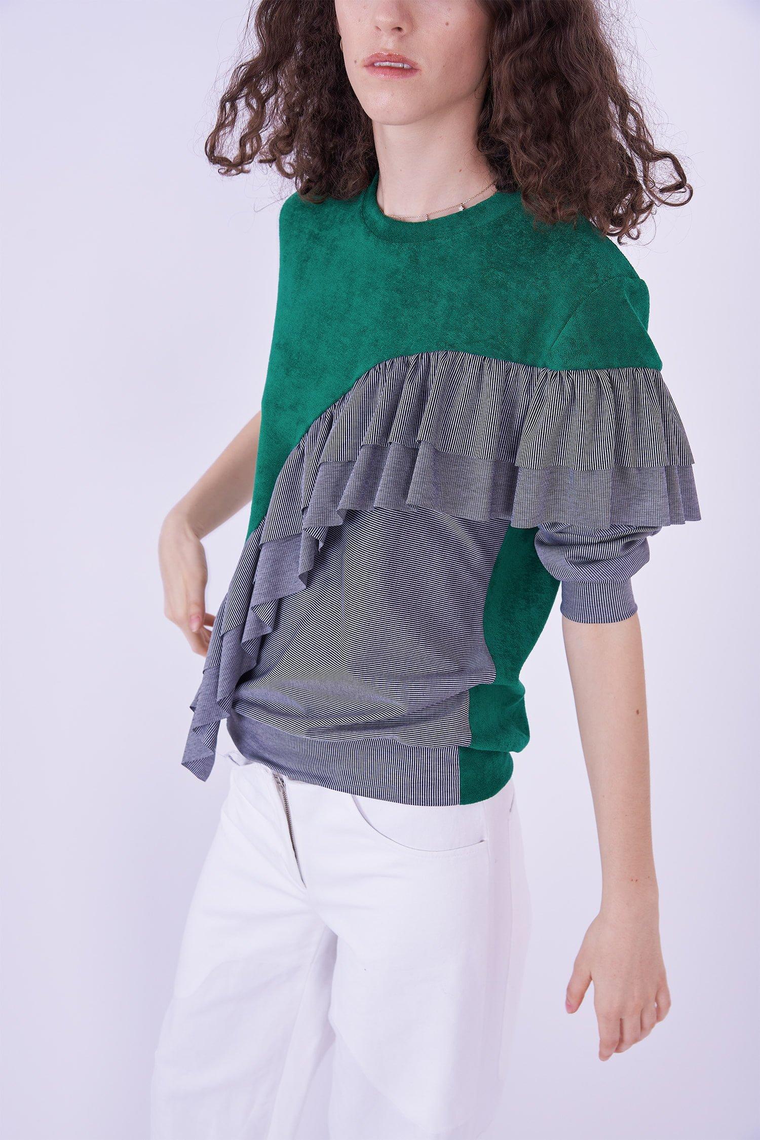 Acephala Ps2020 Green Grey Flounce Patchwork Blouse Bluzka Falbana White Trousers Biale Spodnie Detail