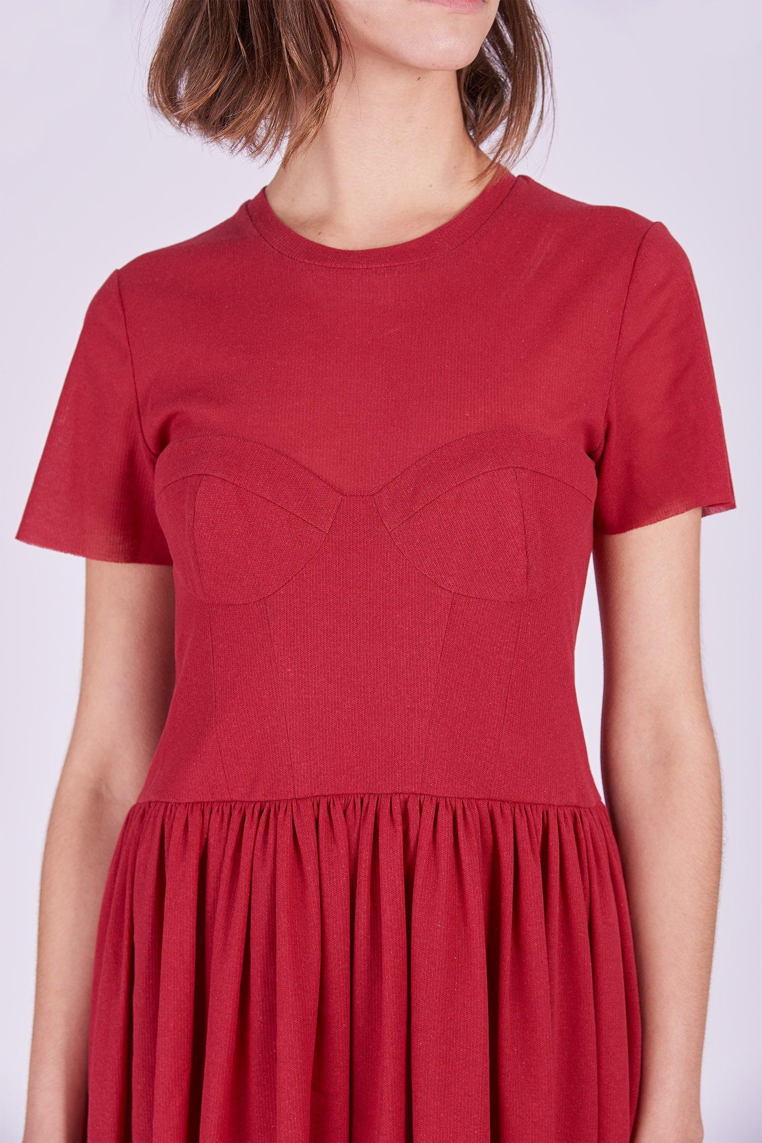 Acephala Ps2020 Red Midi Date Dress Czerwona Sukienka Wieczorowa Randka Detail 2