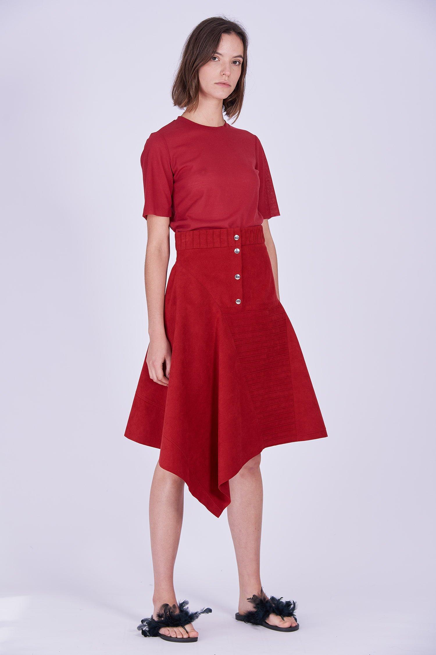 Acephala Ps2020 Red Midi Skirt T Shirt Construction Czerwona Spodnica Konstrukcyjna Czerwony Front Side