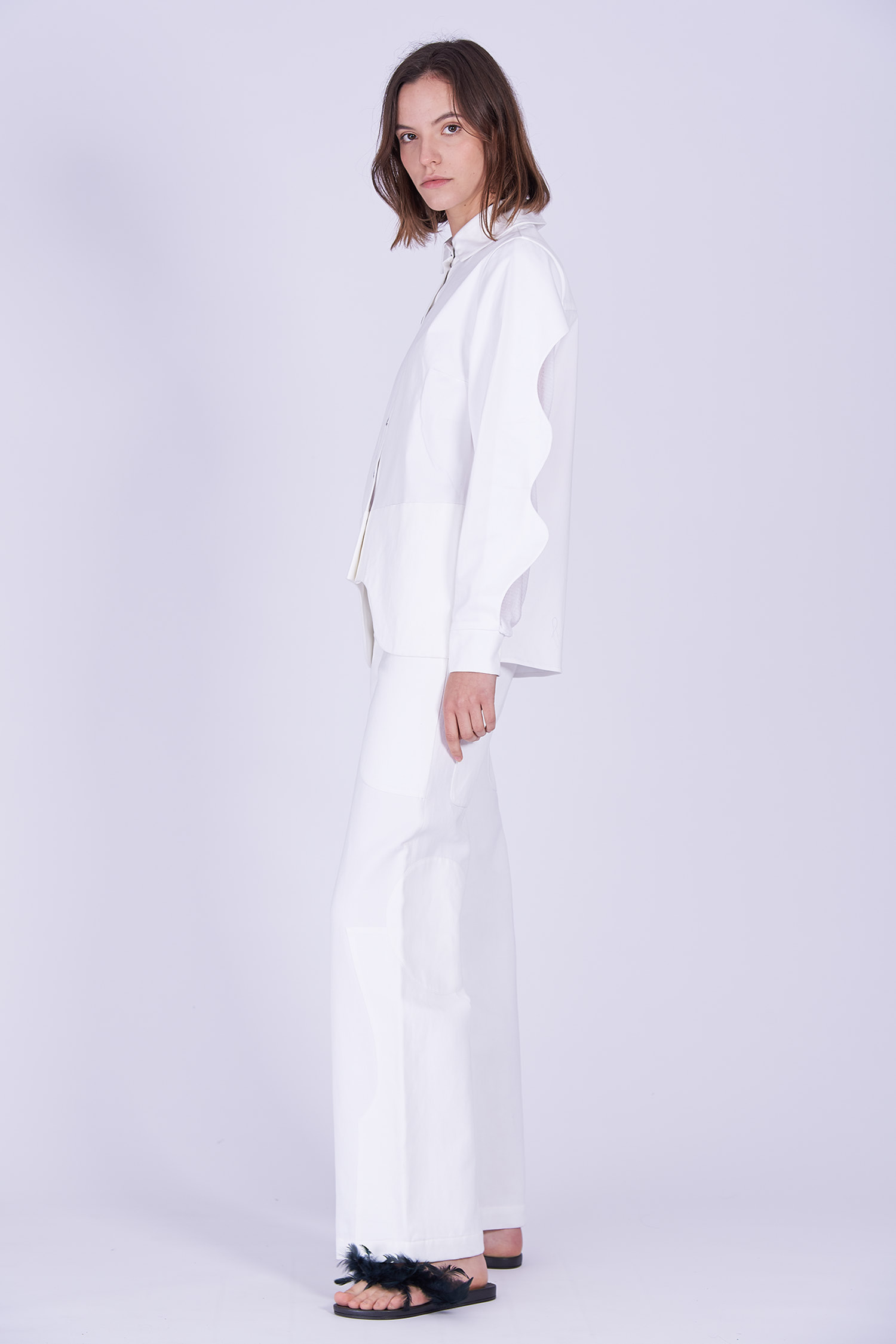 Acephala Ps2020 White Shirt White Trousers Side