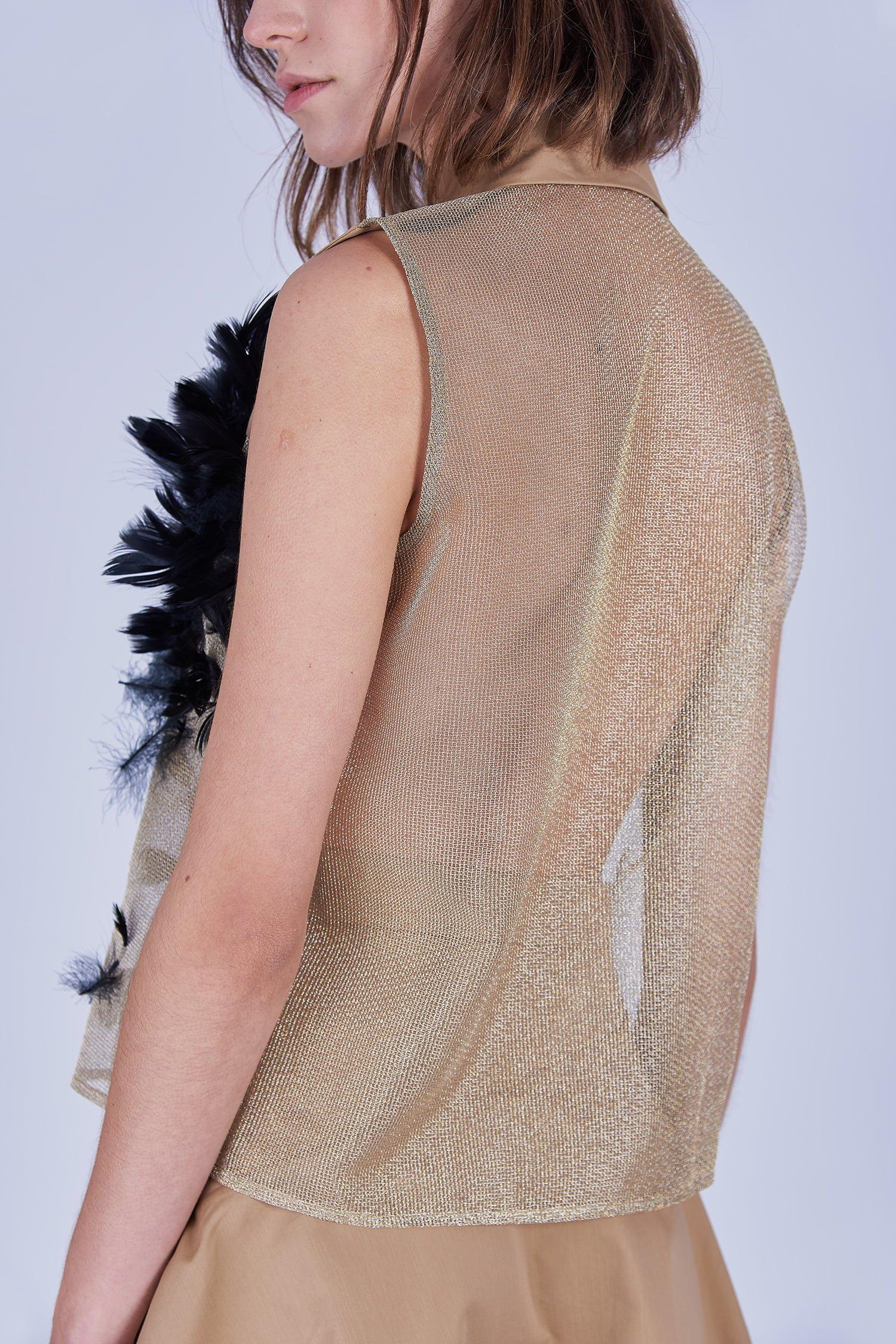Acephala Ss2020 Beige Shirt Feathers Koszula Piorami Detail Back