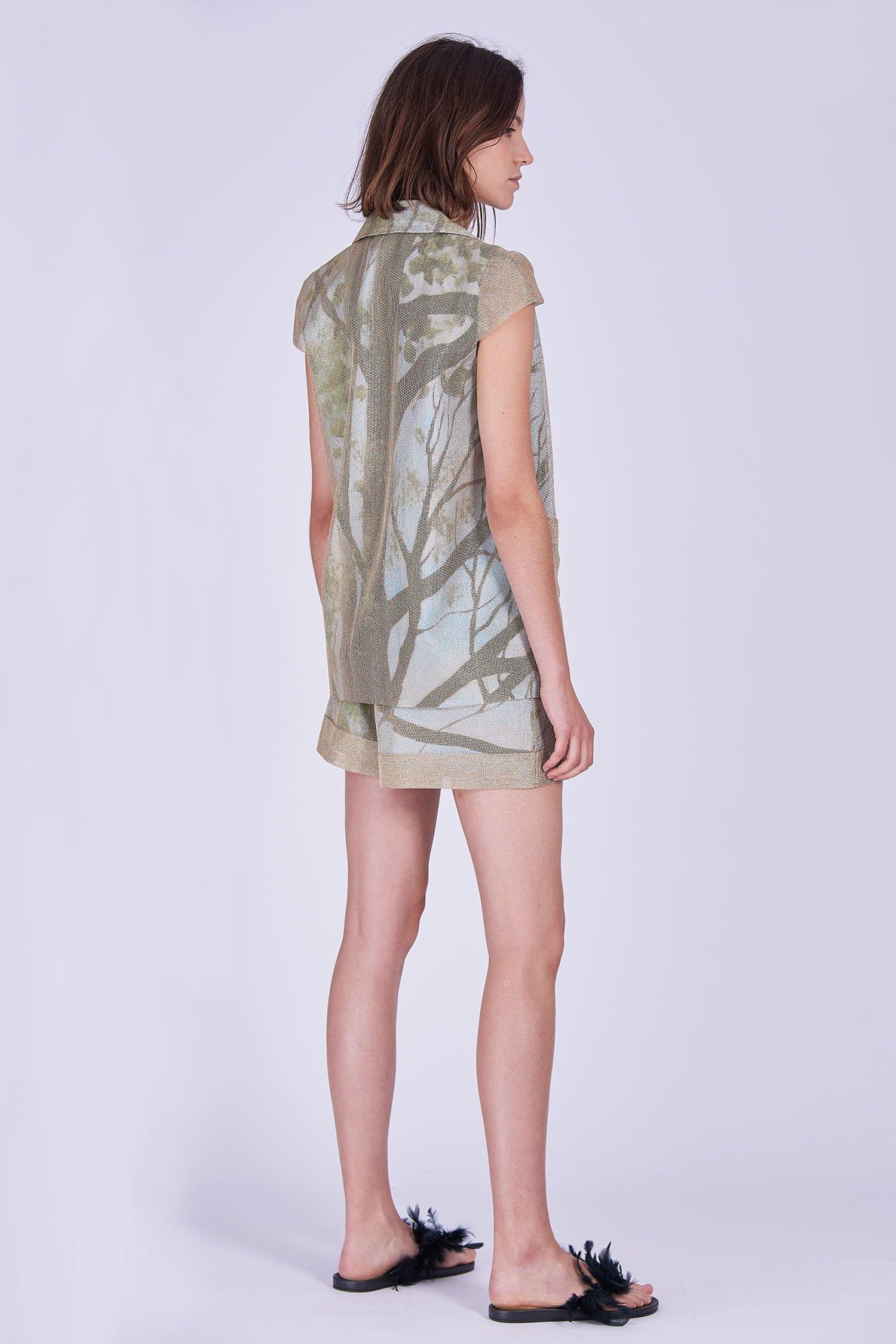 Acephala Ss2020 Gold Jacket Print Shorts Zlota Marynarka Szorty Back Side