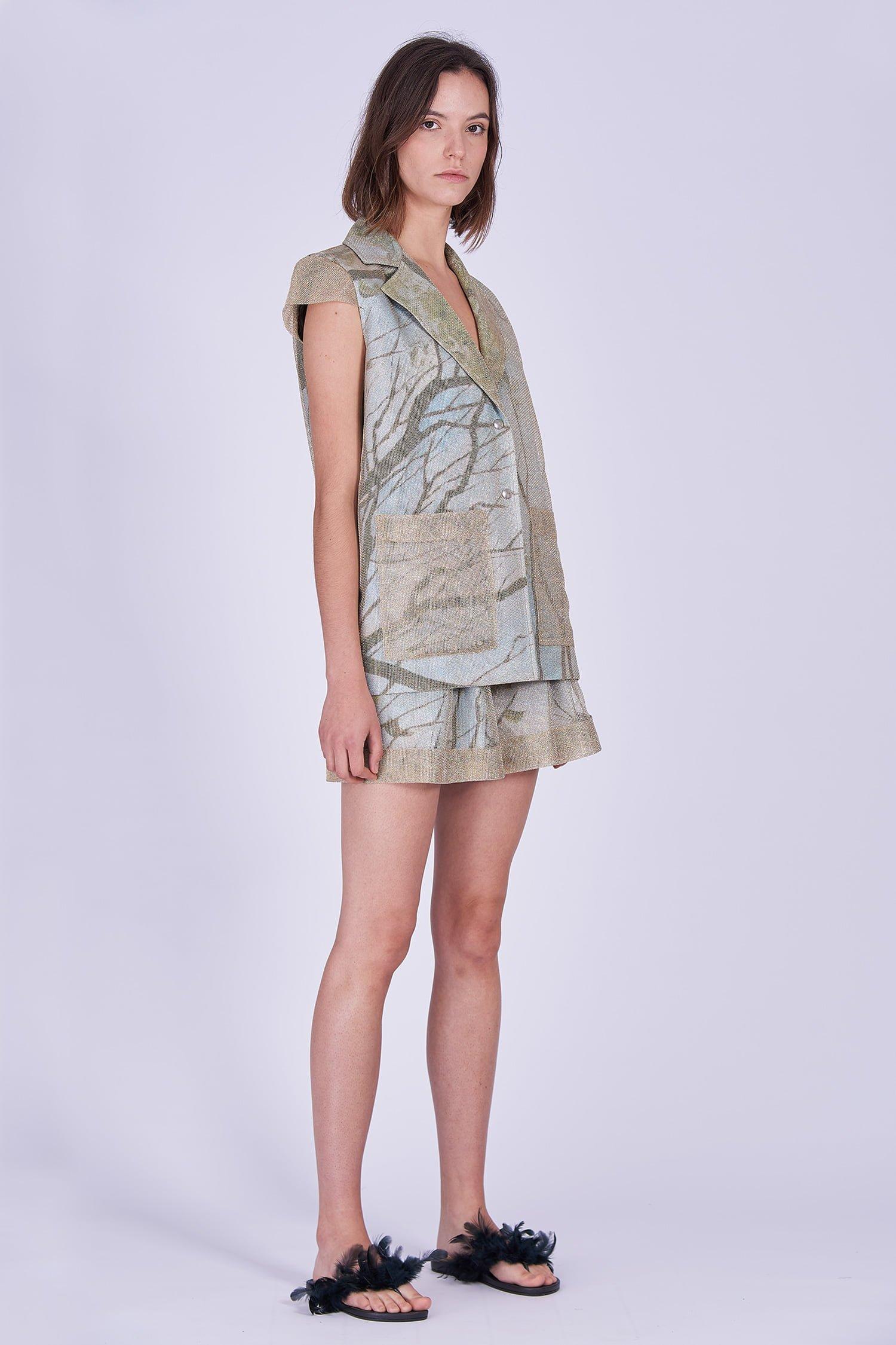 Acephala Ss2020 Gold Jacket Print Shorts Zlota Marynarka Szorty Front Side 2