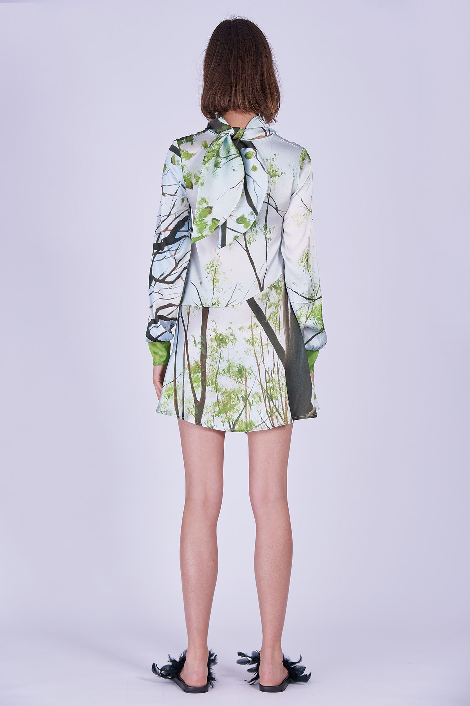 Acephala Ss2020 Printed Silk Longsleeve Dress Jedwabna Sukienka Print Rekaw Back