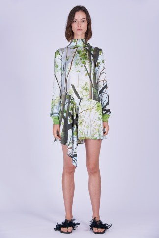 Acephala Ss2020 Printed Silk Longsleeve Dress Jedwabna Sukienka Print Rekaw Front