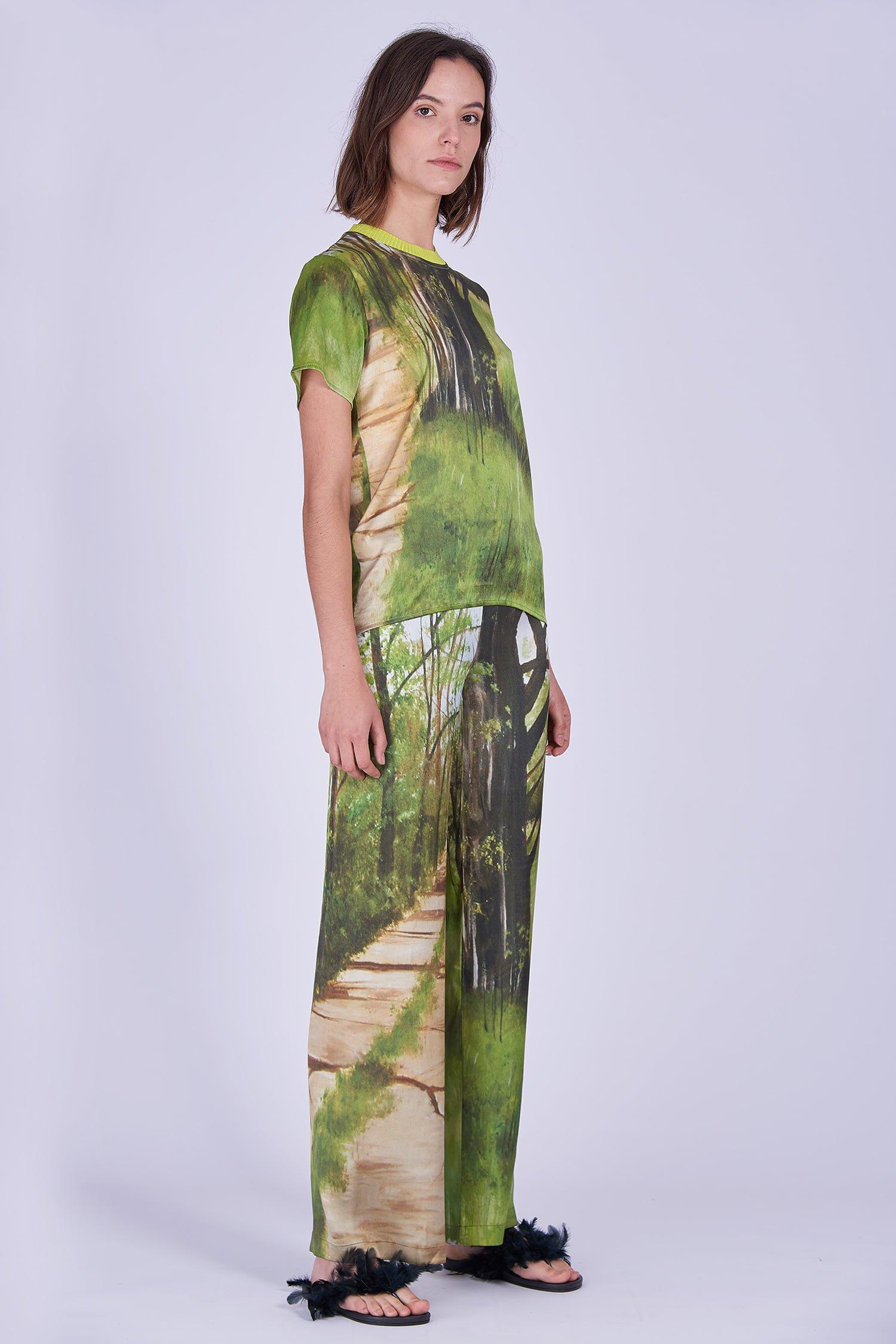 Acephala Ss2020 Printed Silk Tshirt Loose Trousers Jedwabny Jedwabne Luzne Spodnie Side Front