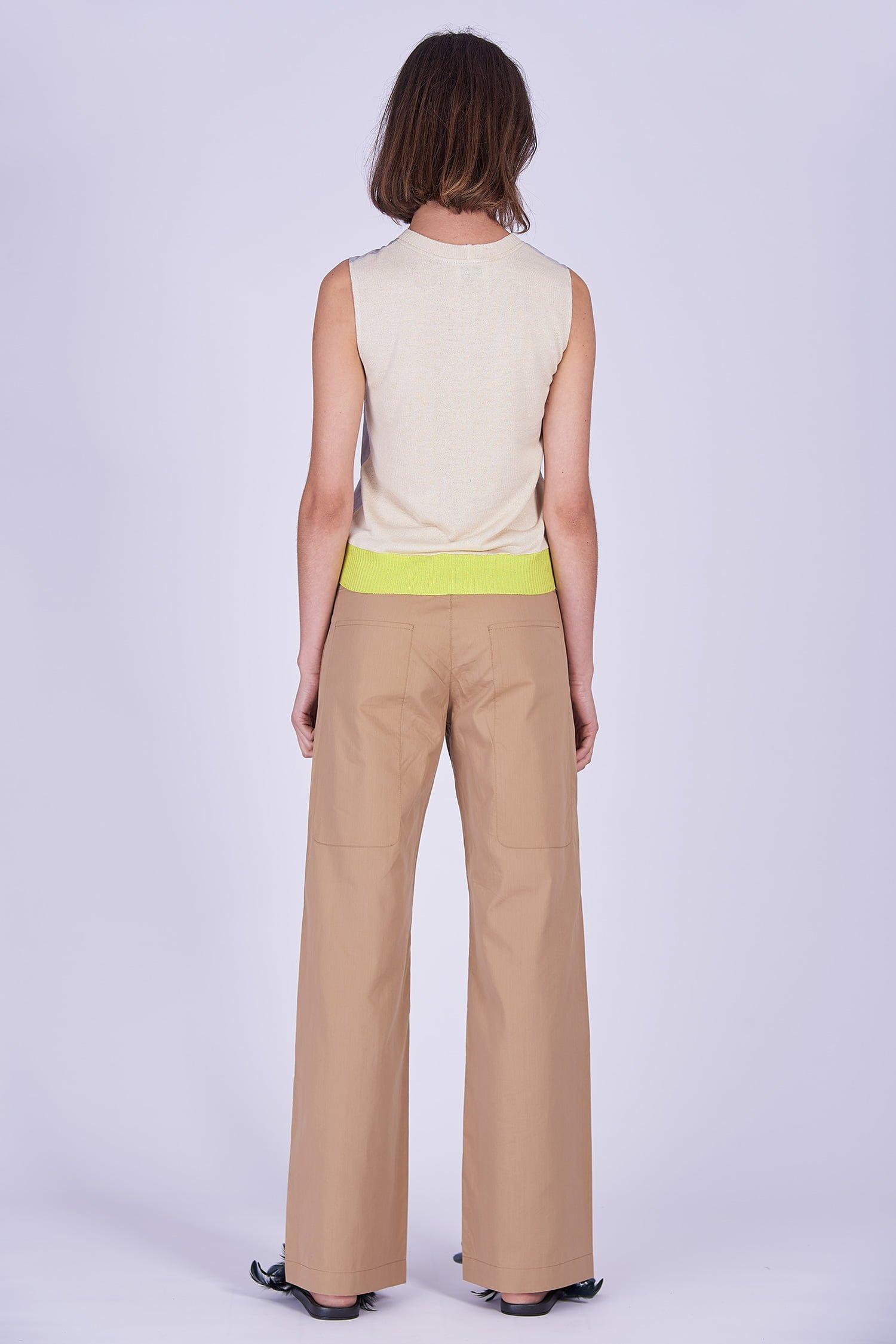 Acephala Ss2020 Silver Bustier Top Beige Cargo Trousers Srebrny Gorsetowy Bezowe Spodnie Back 1