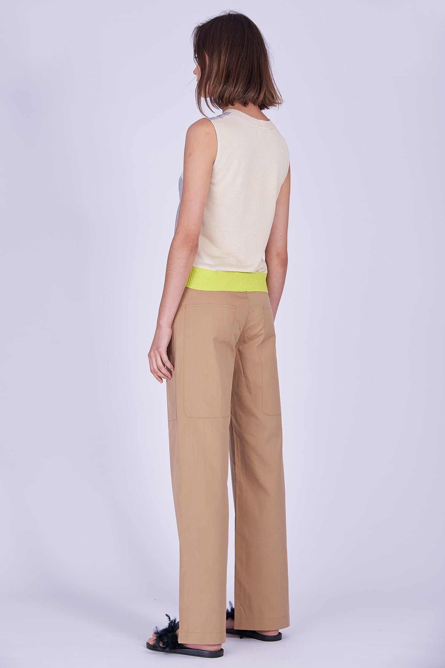 Acephala Ss2020 Silver Bustier Top Beige Cargo Trousers Srebrny Gorsetowy Bezowe Spodnie Side Back