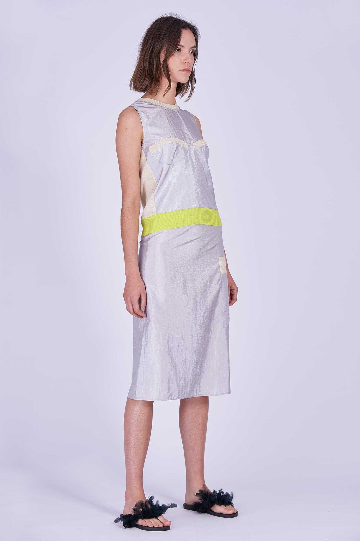 Acephala Ss2020 Silver Bustier Top Midi Skirt Srebrny Gorsetowy Srebrna Spodnica Front Side