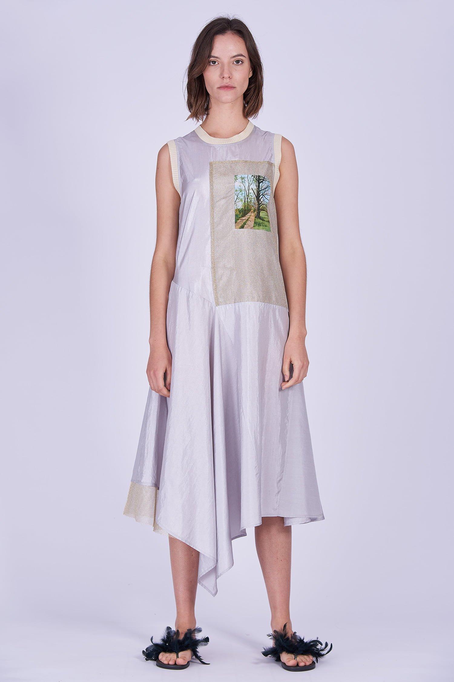 Acephala Ss2020 Sleeveless Asymmetric Silver Summer Dress Letnia Sukienka Front 1