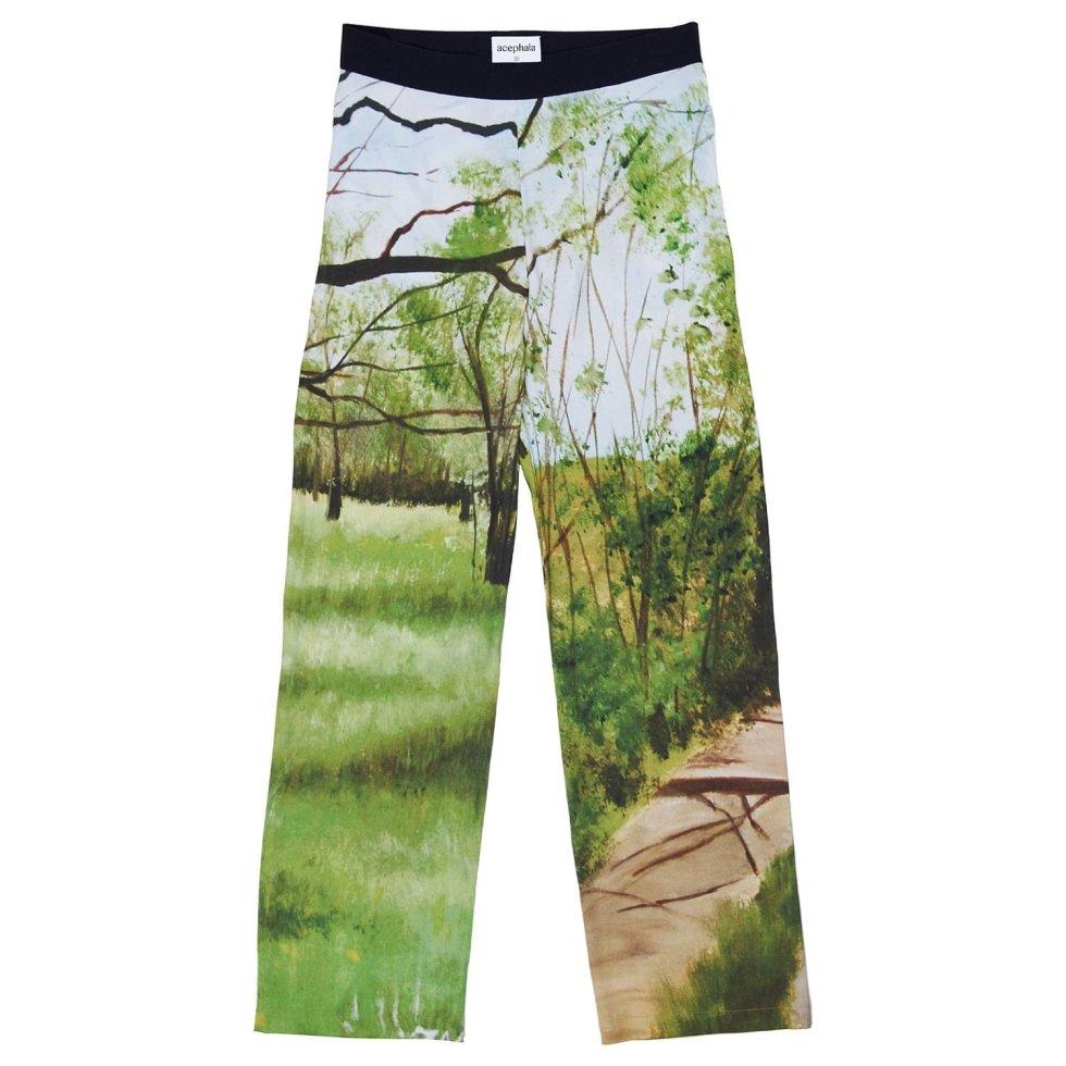 Acephala Ss20 Silk Print Forrest Trousers Spodenie Jedwab Nadruk Las
