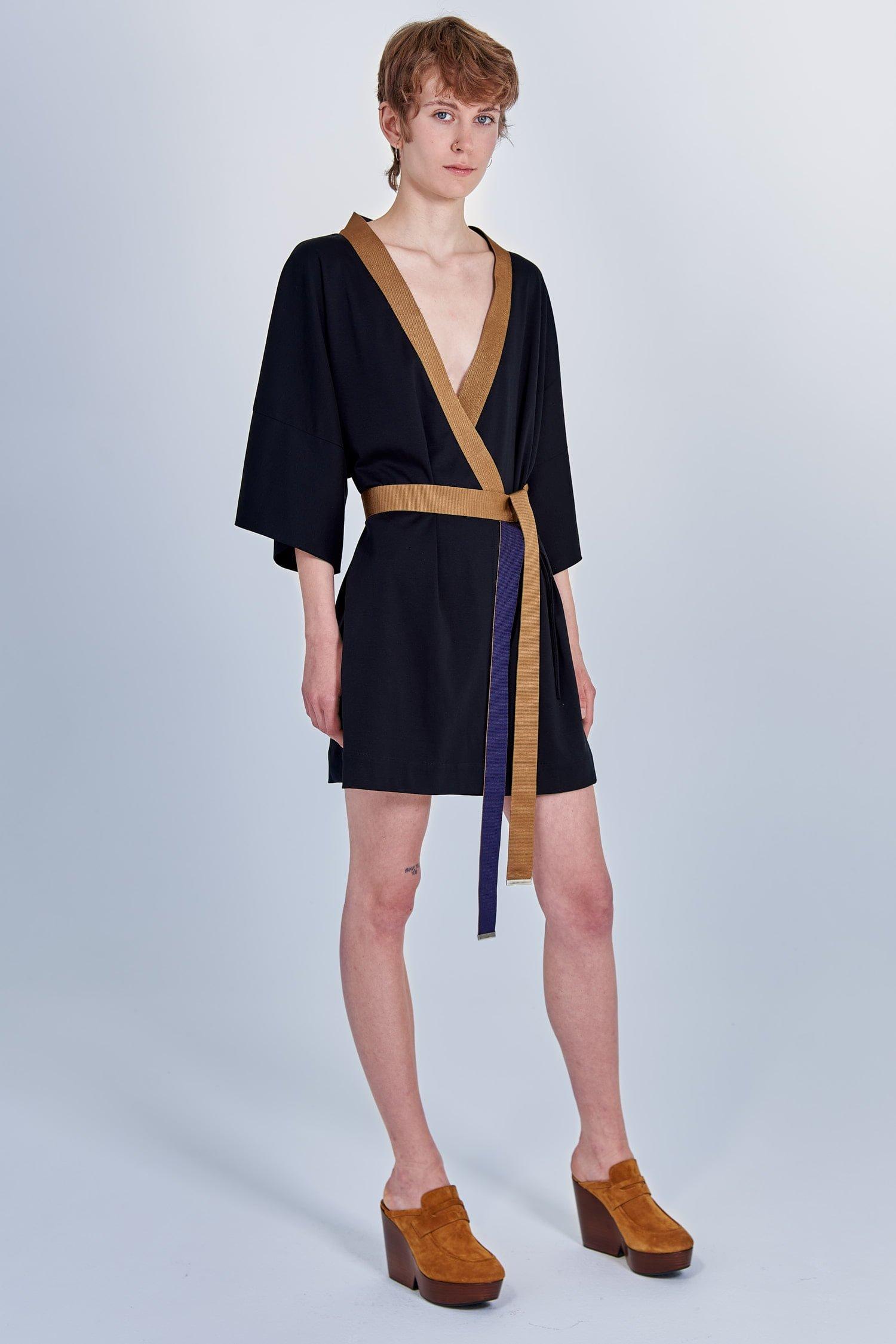 Acephala Fw 2020 21 Black Unisex Kimono With Embroidery On Back Side