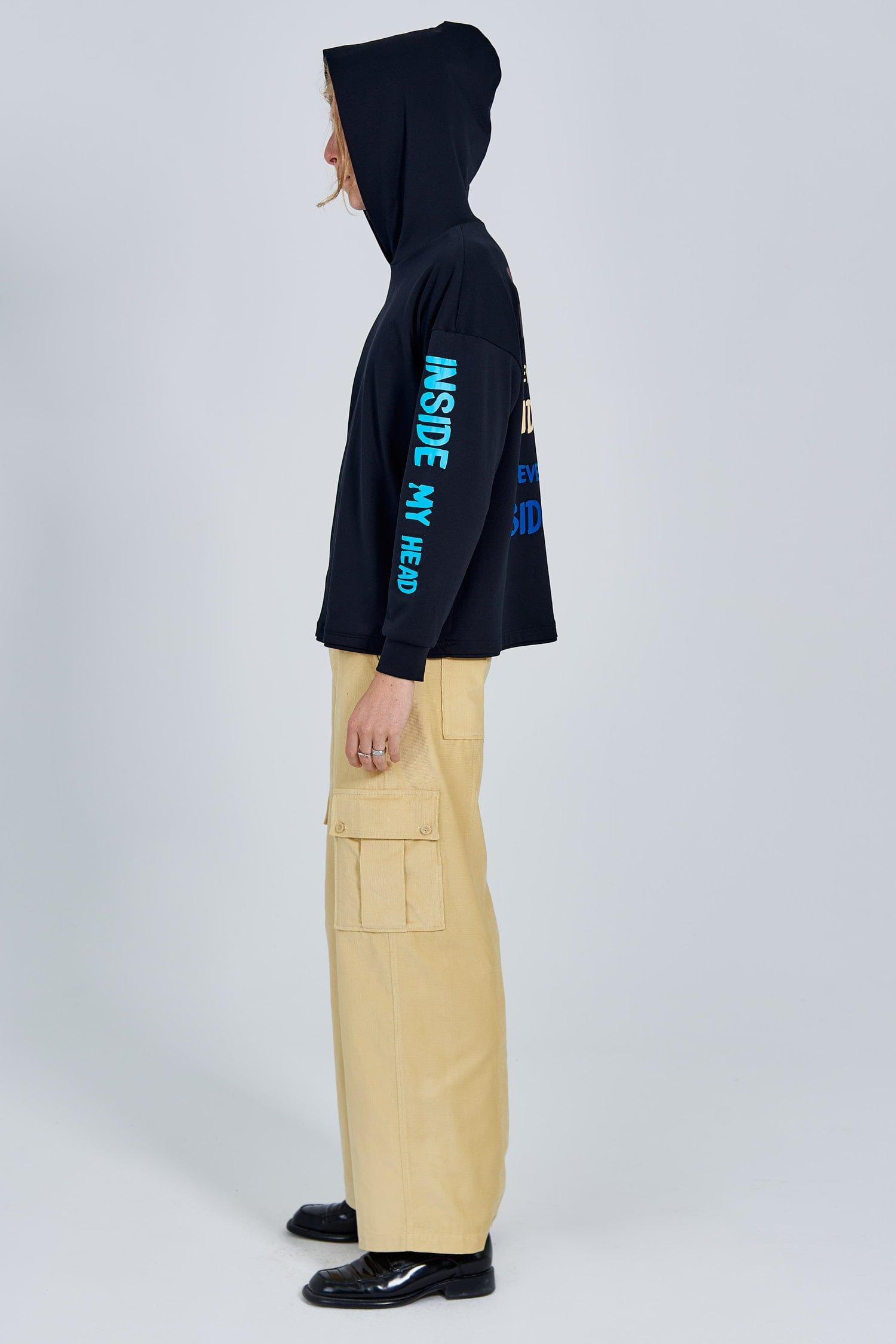 Acephala Fw 2020 21 Black Unisex Printed Hoody Yellow Corduroy Trousers Male Side Left