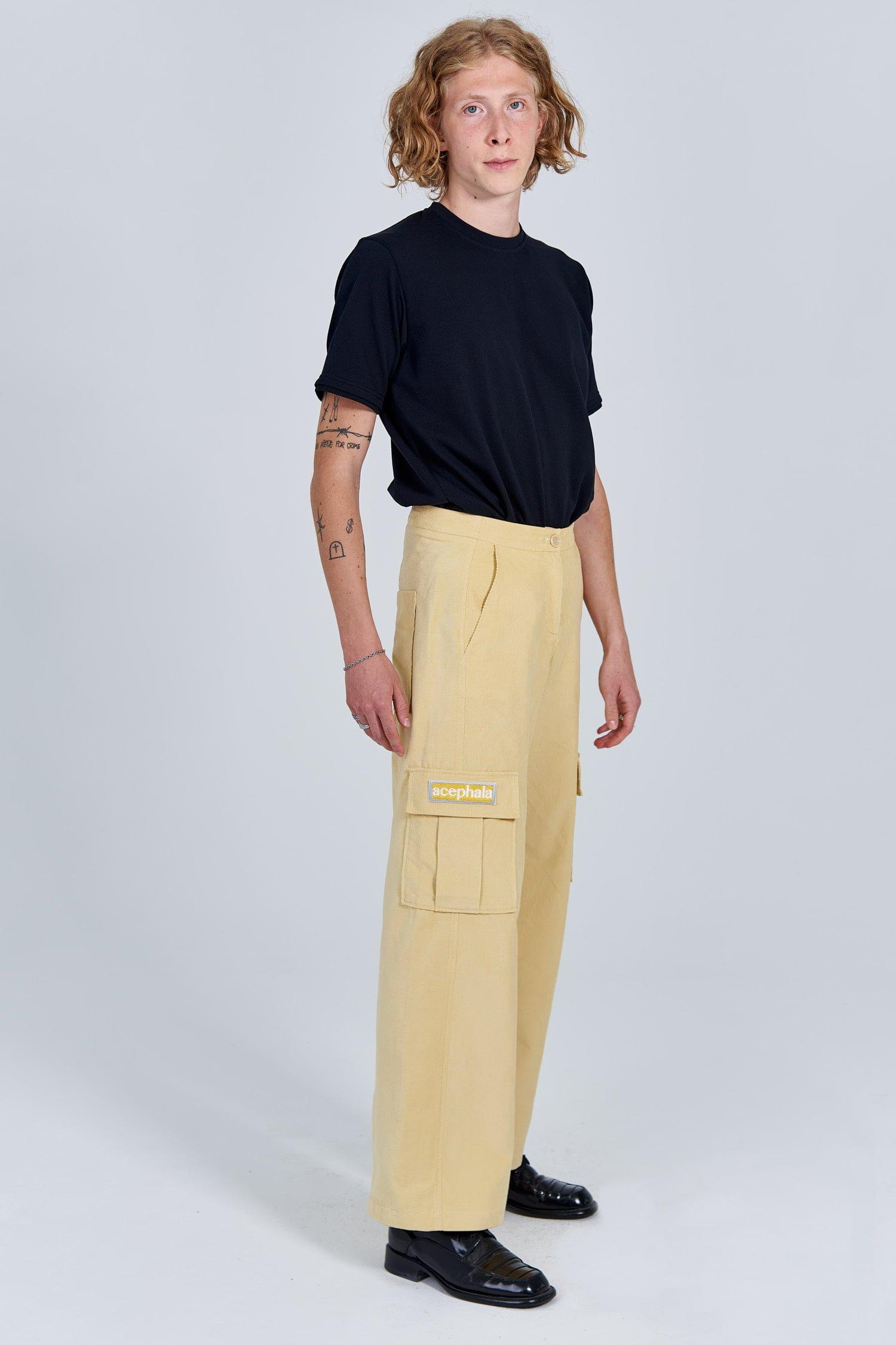 Acephala Fw 2020 21 Black Unisex T Shirt Yellow Corduroy Trousers Male Side