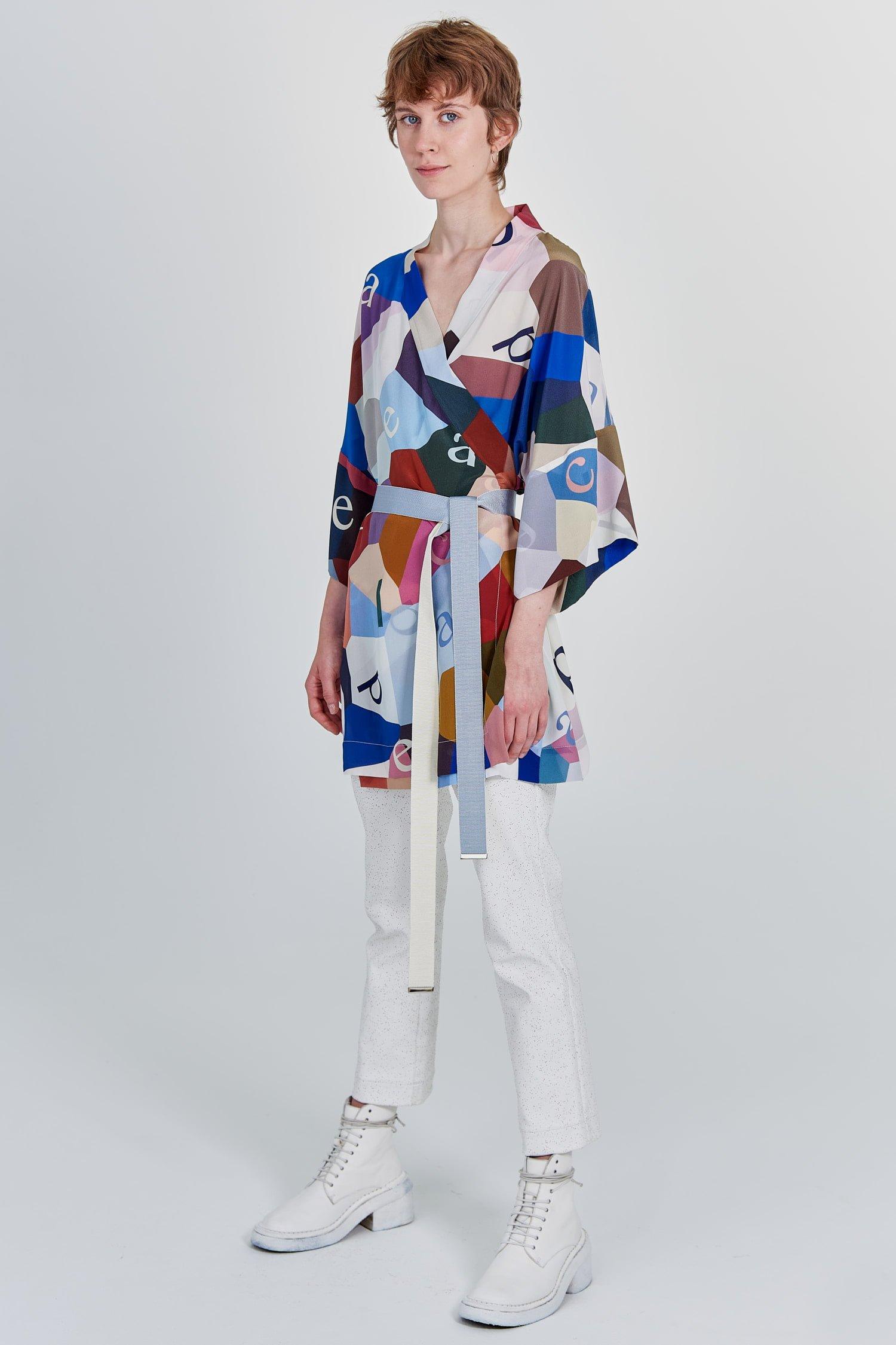Acephala Fw 2020 21 Printed Silk Kimono Side Left