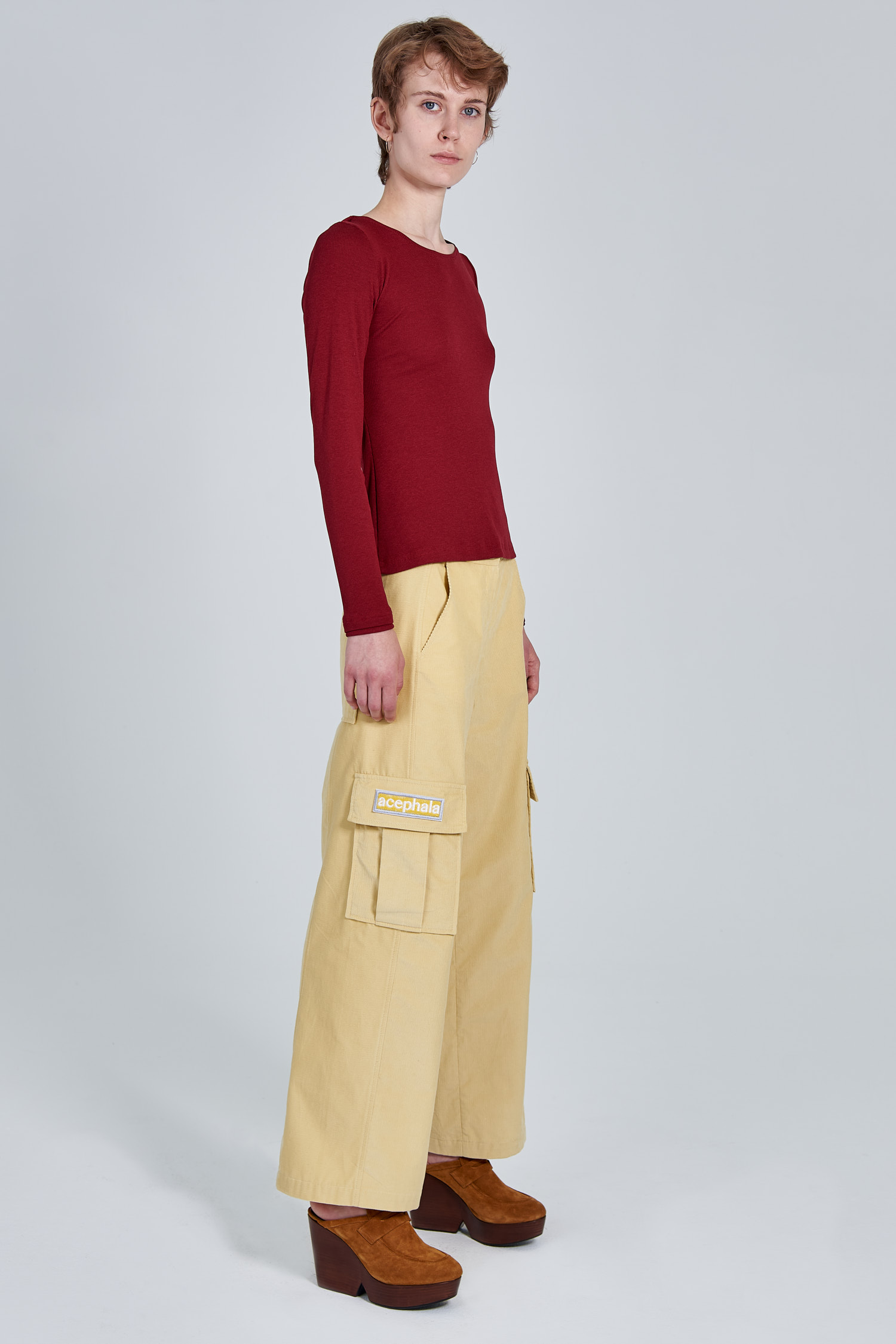 Acephala Fw 2020 21 Red Longsleeve Corduroy Trousers Female Side Right