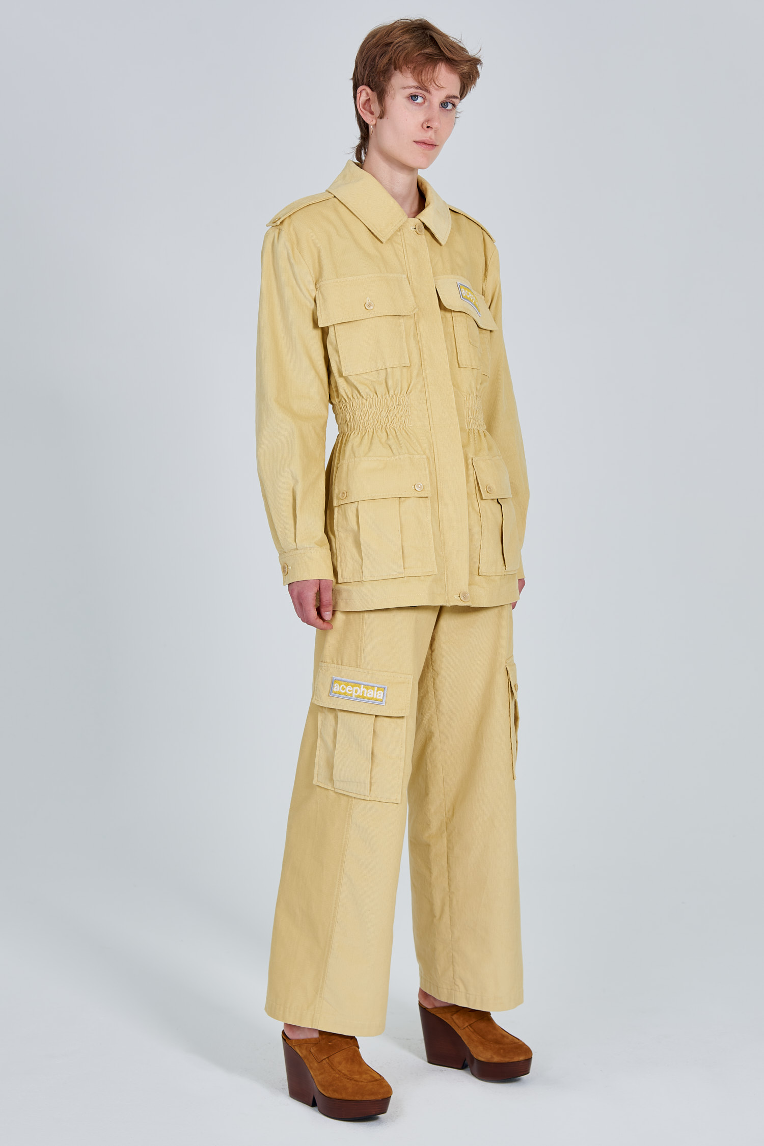 Acephala Fw 2020 21 Yellow Corduroy Trousers Jacket Female Side Left