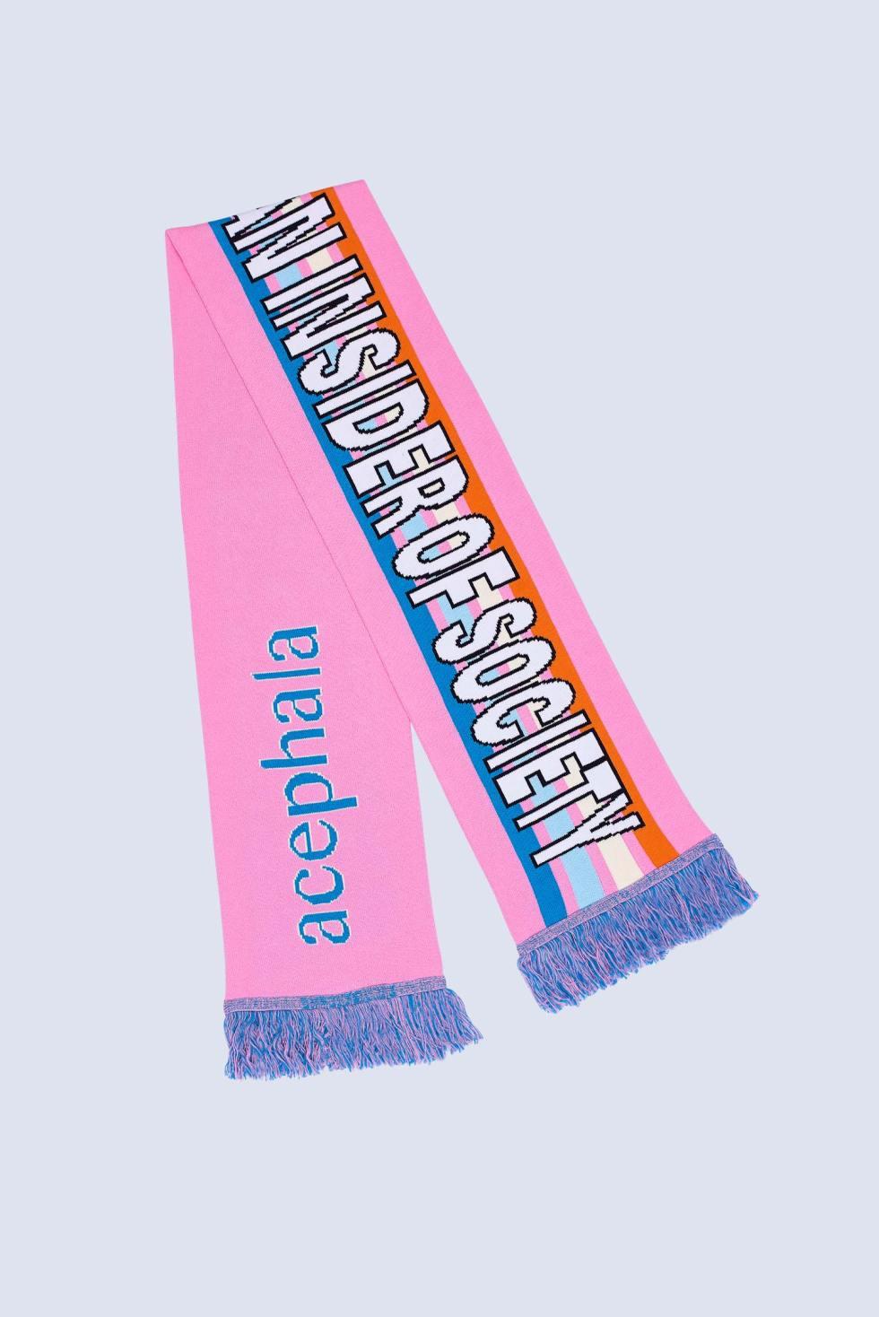 Acephala Fw20 Flatshot Slogan Scarf Pink Sml