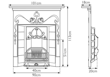 Valentine Cast Iron Combination Fireplace Ace Reclamation